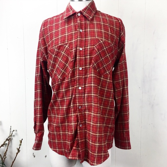 Haband Other - Haband Rust Red Western Plaid Flannel